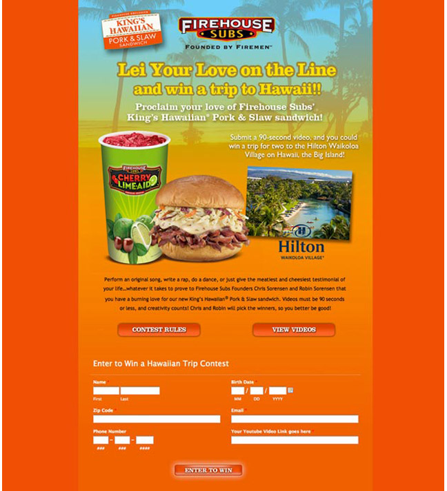 Firehouse Subs landing page