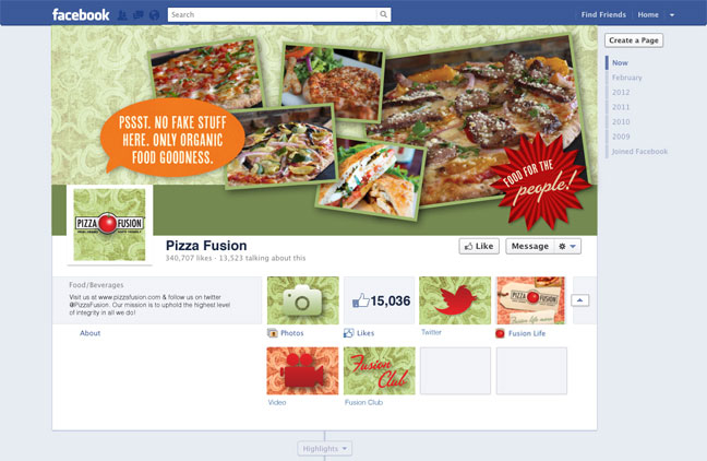 Pizza Fusion Facebook