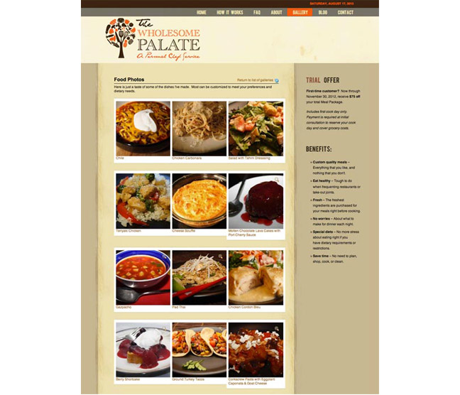Wholesome Palate Website